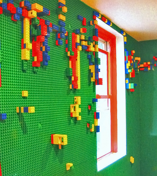 Wall of lego boards!  Cool!