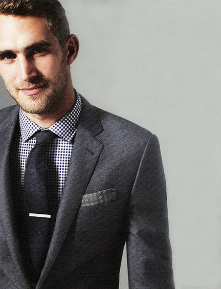 Shirt suit pinpoint for Navy suit checkered shirt