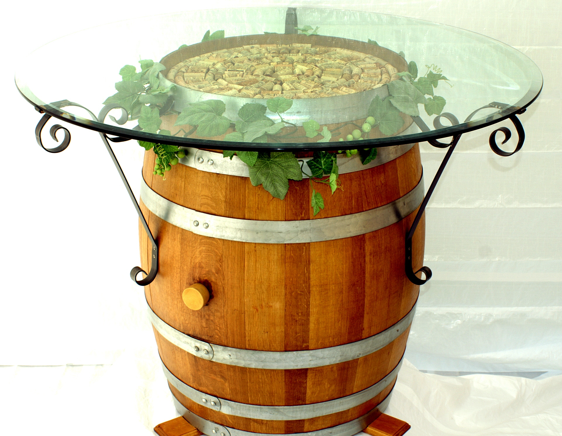 Wine Barrel Table With Wrought Iron Brackets Pinpoint