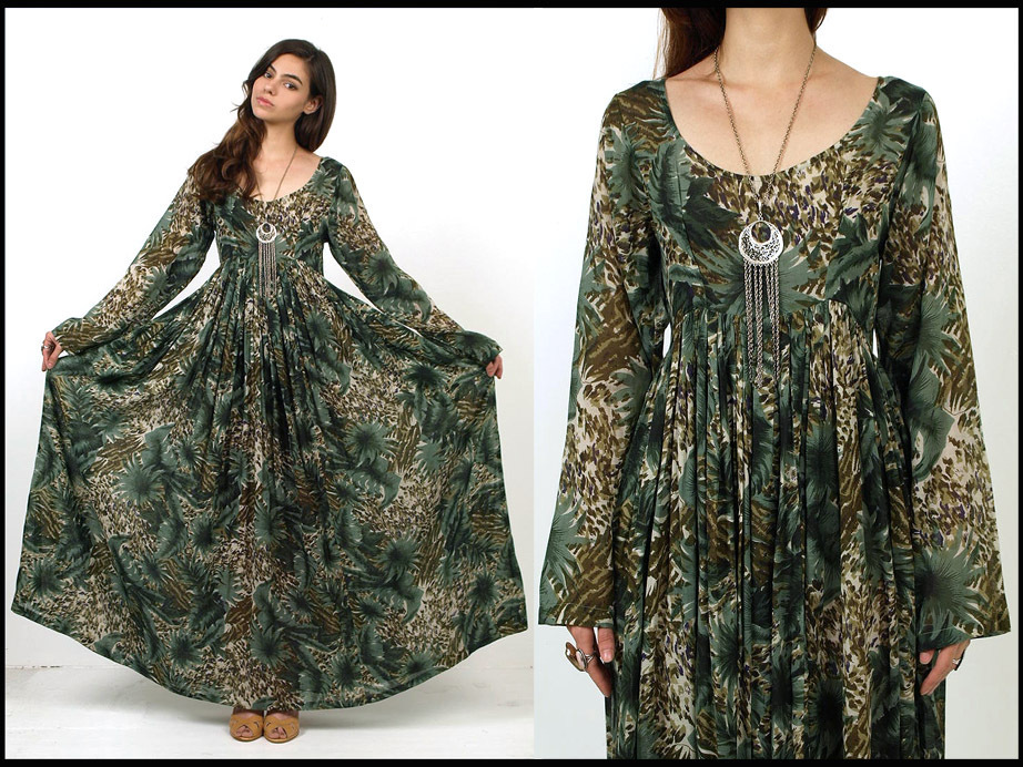 Vtg 70s green leaf print sheer cotton hippie boho maxi dress s m