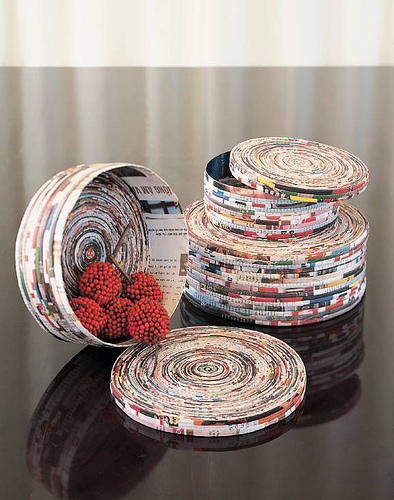 Bowls made from magazines