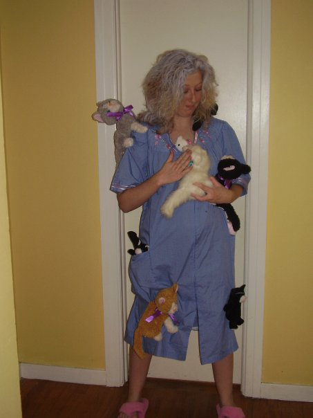 crazy cat lady costume — use bathrobe and pin stuffed ...