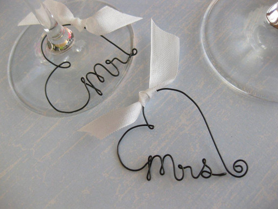 Mr and Mrs Wine Glass Charms Personalized Wedding by kraze4paper, USD15 ...