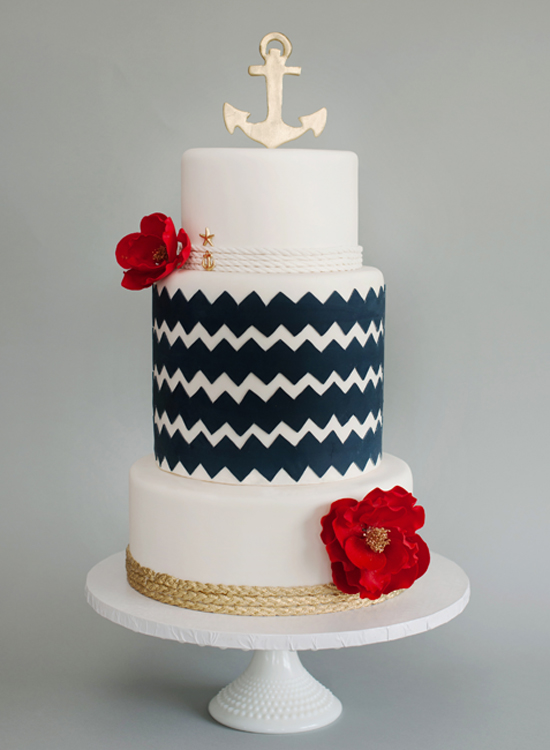 Gold And Navy Blue Nautical Wedding Cake With Red Flowers