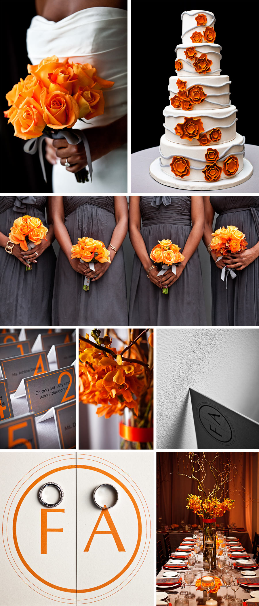 Grey Orange Wedding Love The Gray With Pop Of Color Add Red And Good To Go