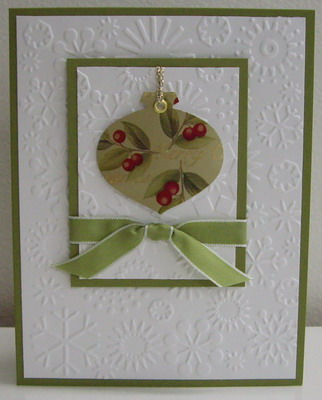 ... punch, mistletoe ribbon, cuttlebug snowflakes embossing folder
