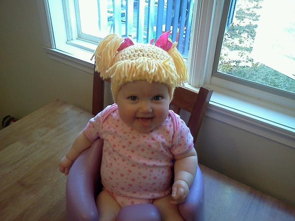 Cabbage Patch Knit Hat With Fringe And Pigtails Pattern : Hilarious!!! Cabbage Patch Knit Hat with fringe and pigtails PinPoint