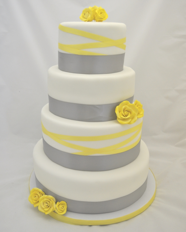 grey and yellow ribbon wedding cake pinpoint