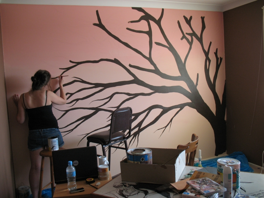 thinking of painting a mural of a tree on a wall in my home i love. Black Bedroom Furniture Sets. Home Design Ideas