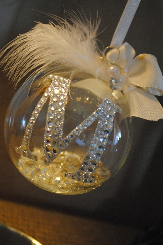 Monogrammed ornament just a clear glass