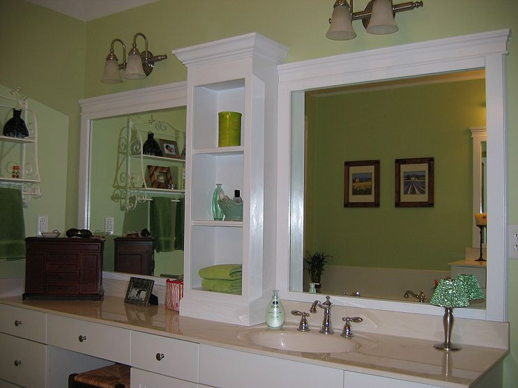 Changing a large bathroom mirror without removing the - Frame bathroom mirror with moulding ...