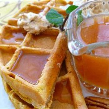 Pumpkin Waffles with Apple Cider Syrup | Most Popular Pins