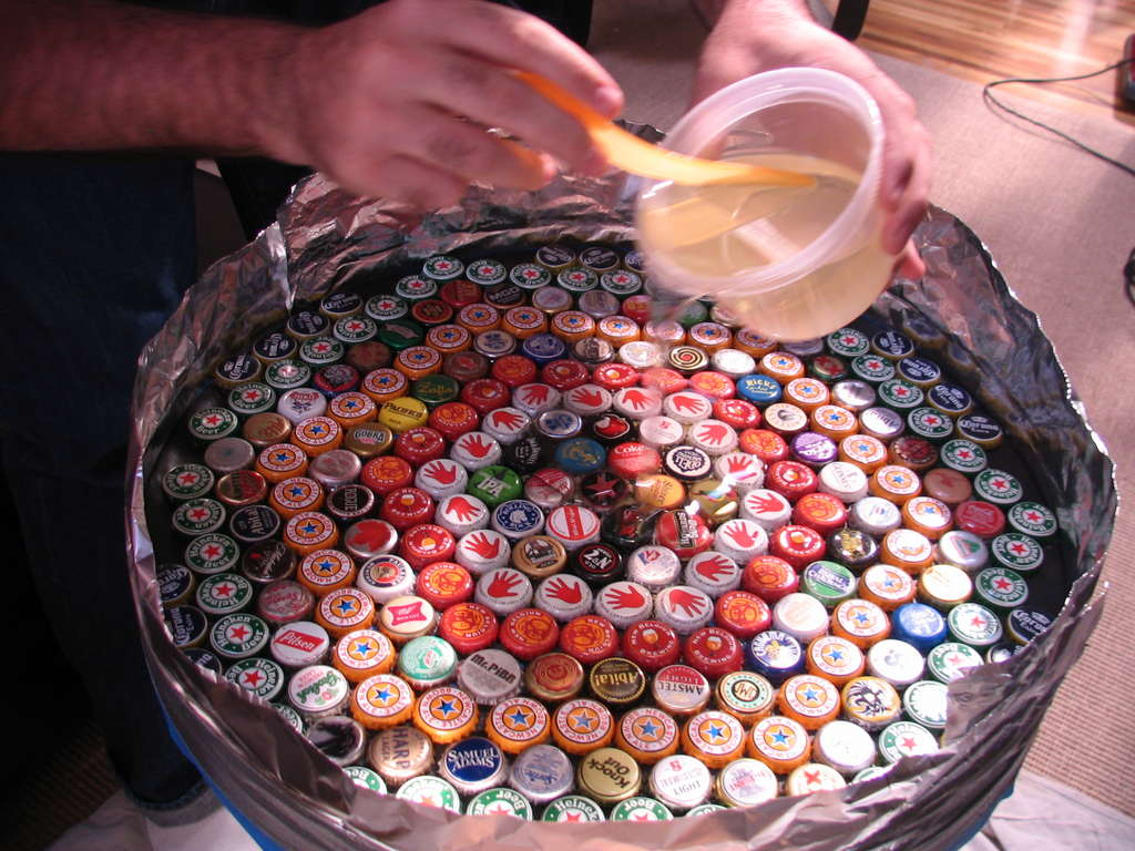 bottle cap table how to how cool is this to have on the