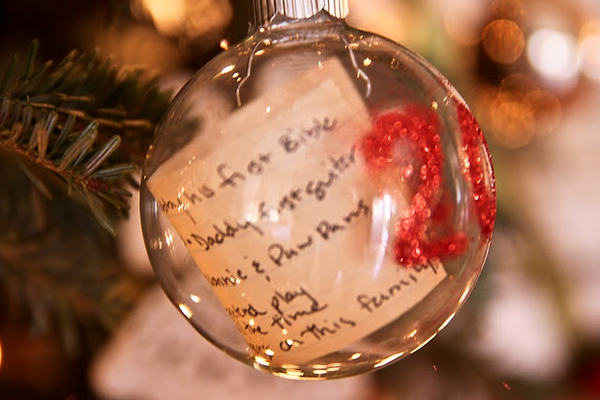 LOVE THIS! Preserve your child's Christmas list in an ornament every year. W