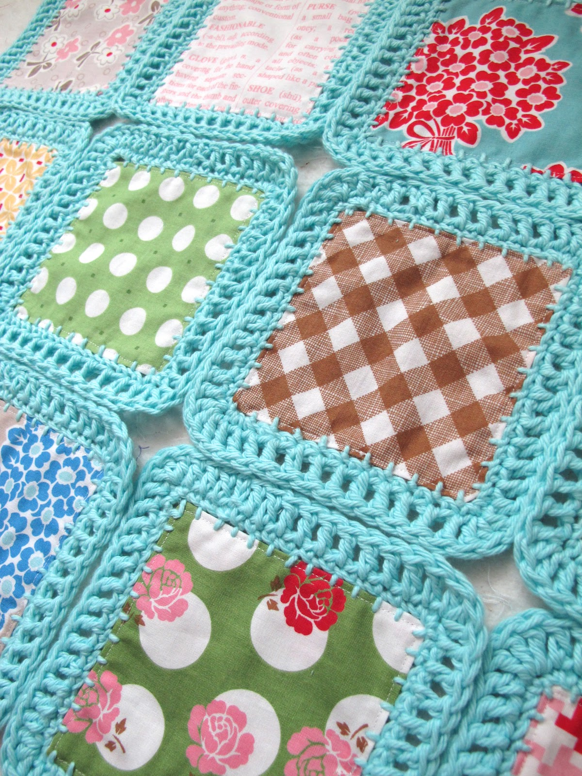 Crocheting On Fabric : Fabric And Crochet Blanket Will Need To Make This Pictures to pin on ...