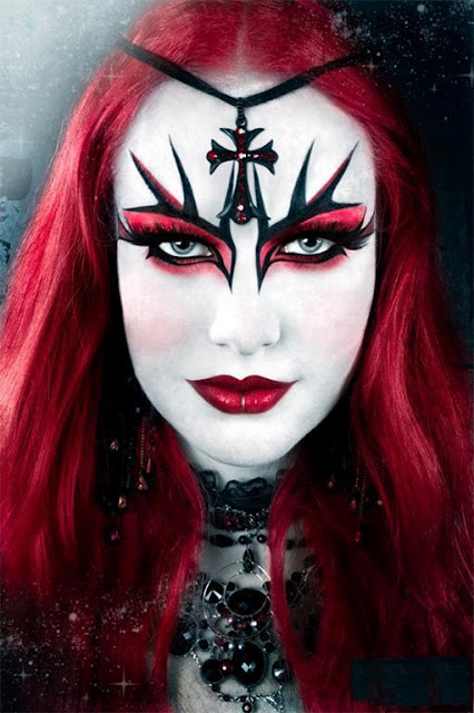 Gothic red eye makeup
