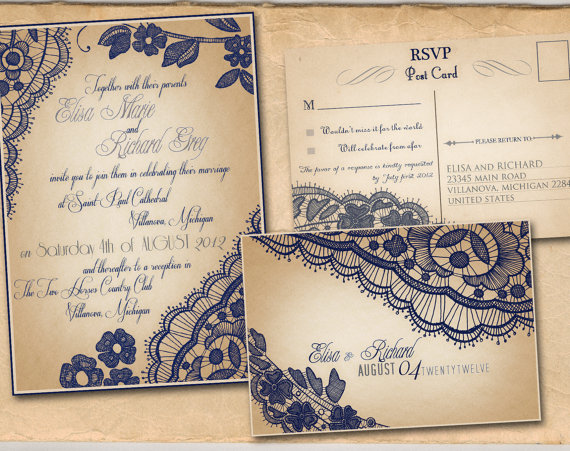 Printable VINTAGE WEDDING INVITATIONS Template – Navy Blue Lace Set