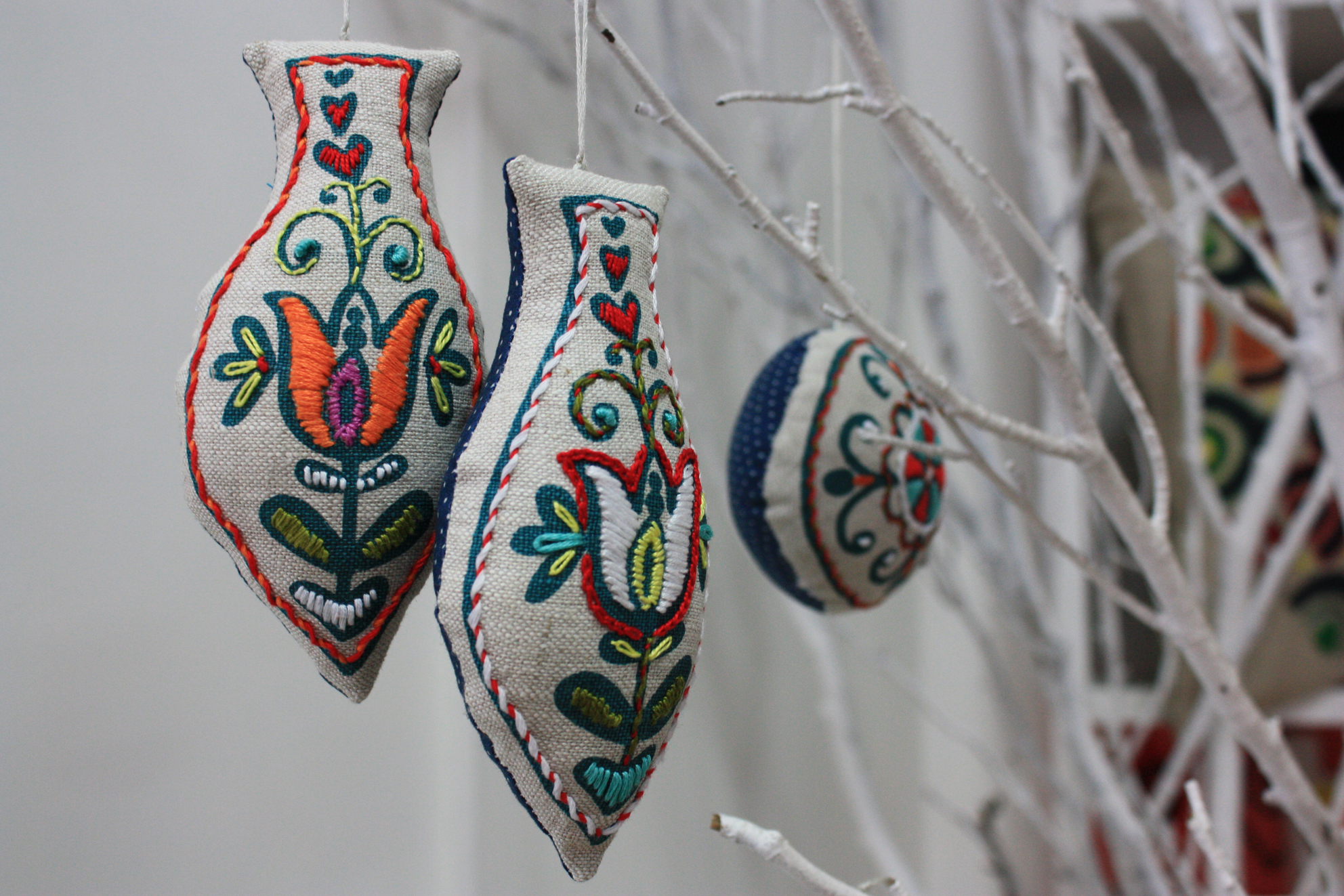 Embroidered christmas ornaments - Embroidered Christmas Decorations Pinpoint