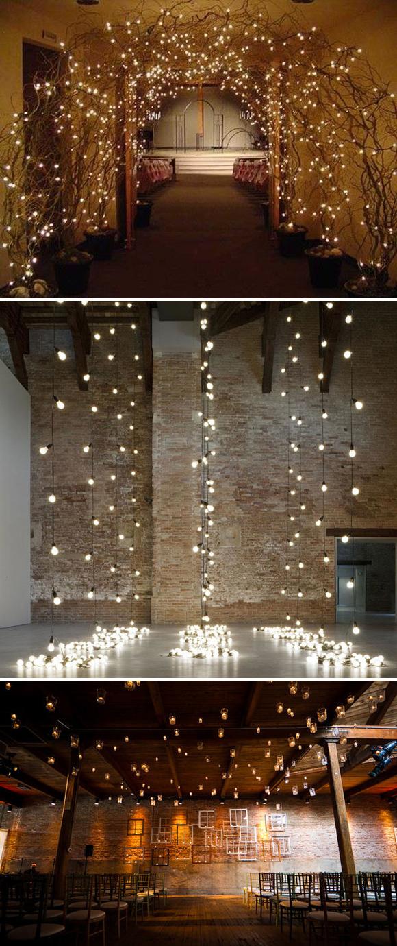 Lights As Ceremony Backdrop Nice Wedding Decoration