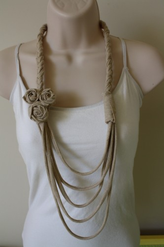 Upcycled t shirt necklace pinpoint