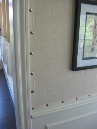 Burlap wall covering.