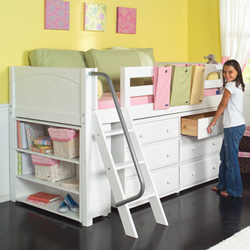 great idea for small bedroom dresser and storage under a loft style bed pinpoint. Black Bedroom Furniture Sets. Home Design Ideas