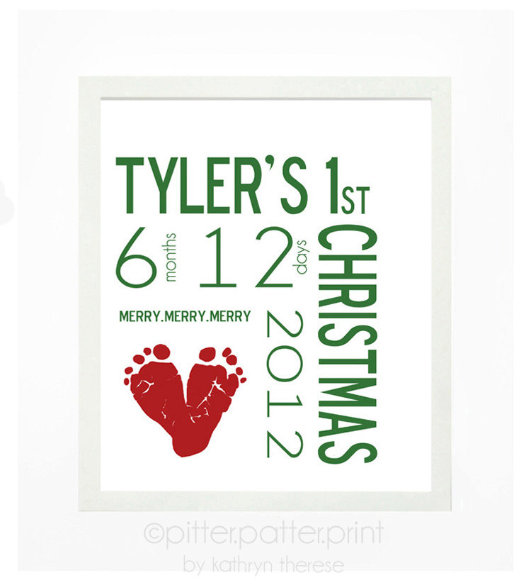 Babys First Christmas Decoration Personalized Wall Art