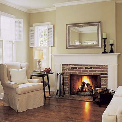 Classic Elegant Fireplace Neutral Paint With Red Brick