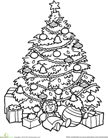 worksheets christmas tree coloring page pinpoint