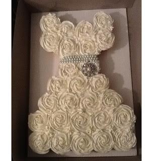 Dress pull apart cupcake cake cute bridal shower or make for Wedding dress cupcake cake