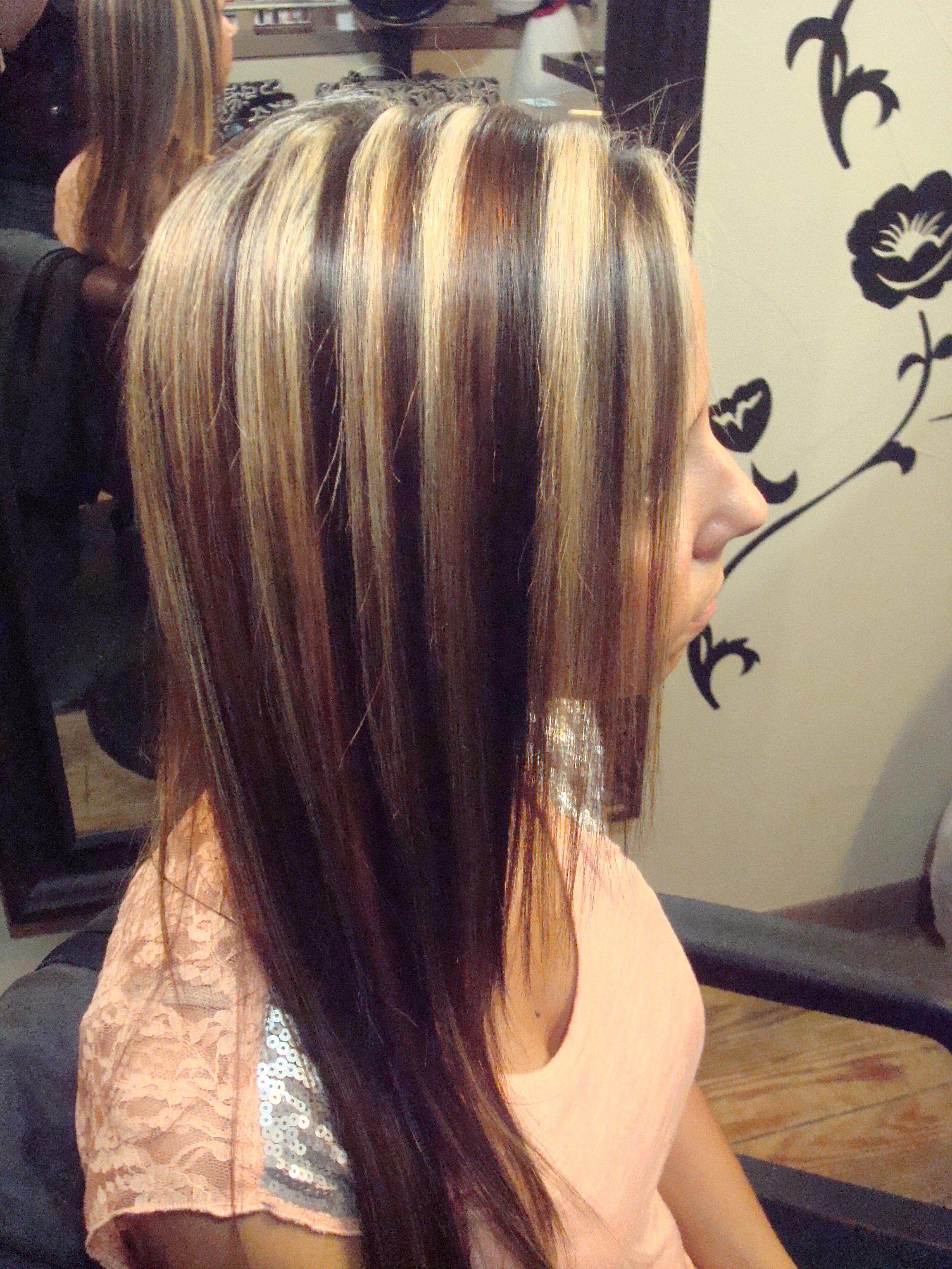 Image Detail for – Chunky blond highlights with dark and ...