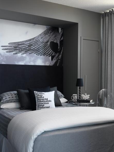 bedrooms charcoal gray walls bed nook gray bedding black