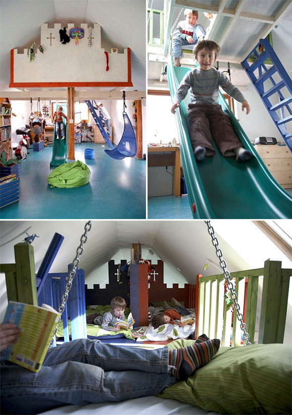 A Bedroom Playroom For Boys With Beds In The Loft Pinpoint