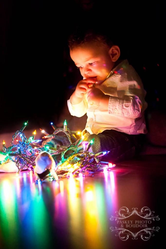 christmas lights baby photo