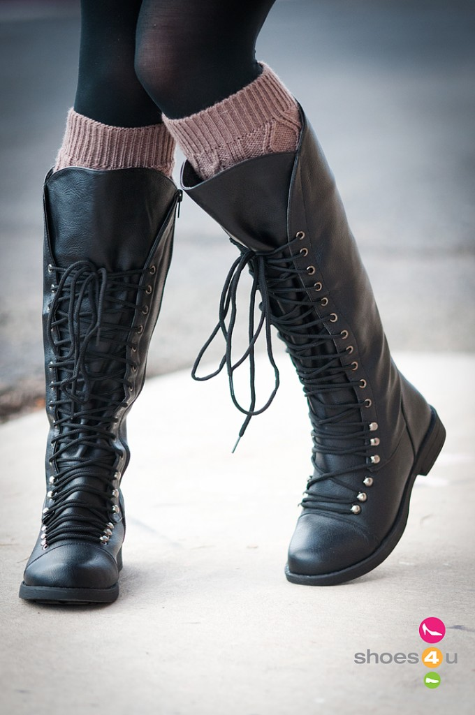 lace up knee high boots pinpoint