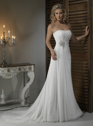 Gorgeous strapless a line chapel train bridal gowns make for Make your own wedding dresses