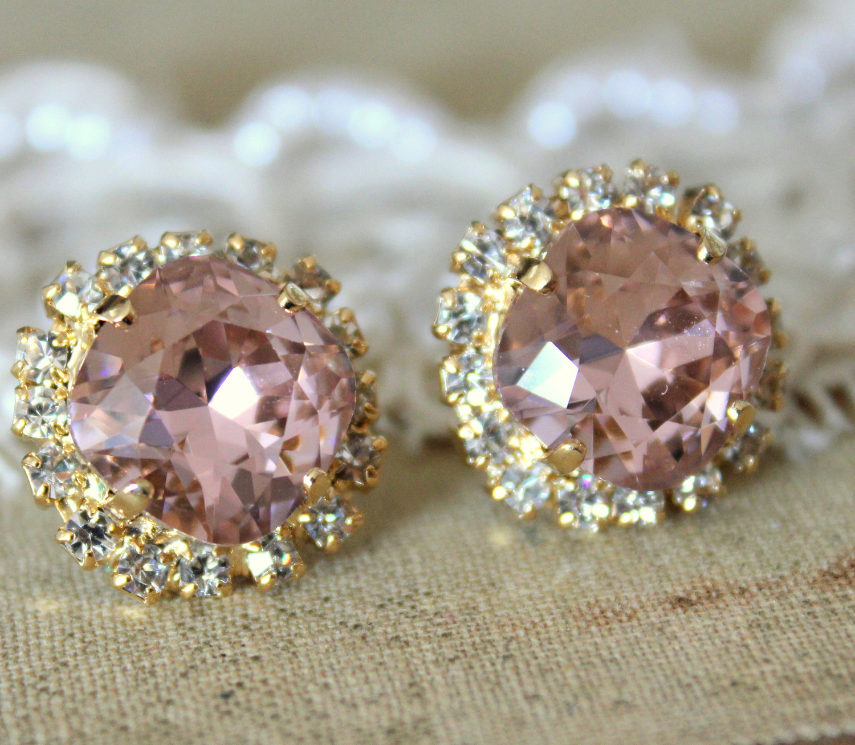 stud big vintage pink earring 14k plated gold