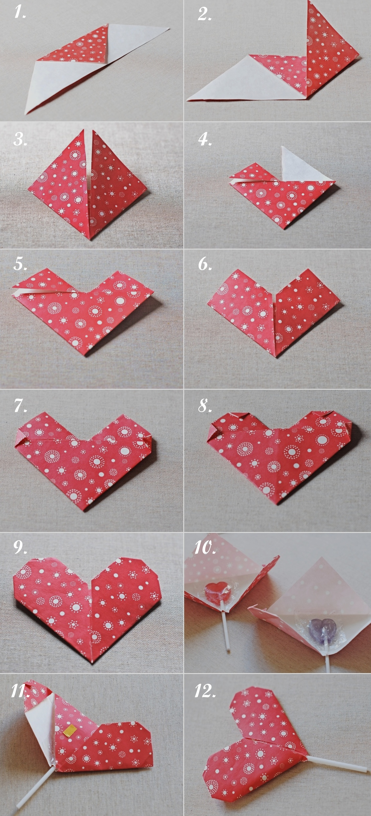 diy origami heart valentine�s favor gift pinpoint