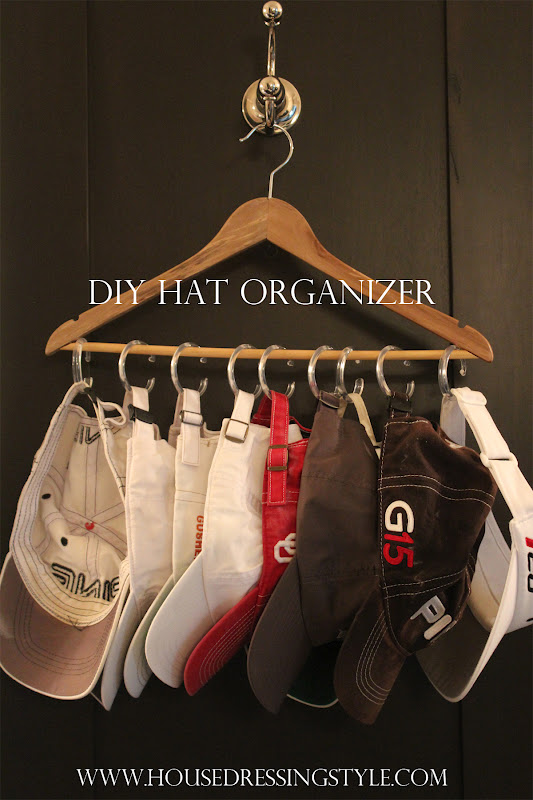 Diy 1 hat organizer hanger shower curtain c hooks for Diy hat organizer