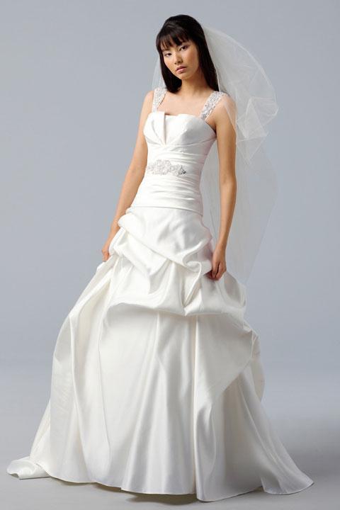 Elegant Natural Waist Ball Gown Satin Wedding Dress Bridal
