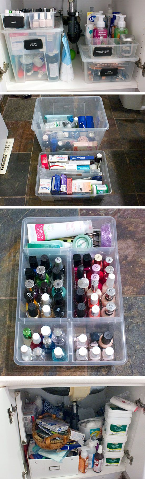 Organize cabinet with plastic containers click pic for - Plastic bathroom storage containers ...