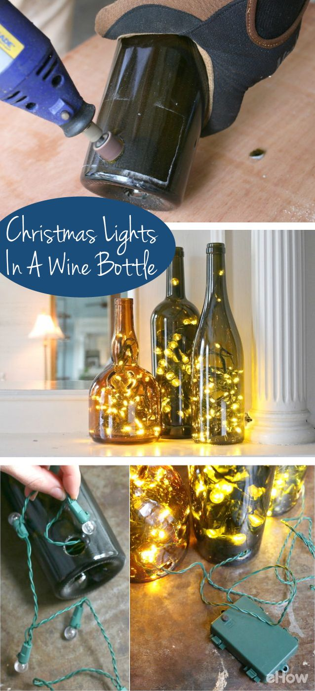 Display Christmas lights in a whole new, non-traditional way this year – in wine bottles! An LED light