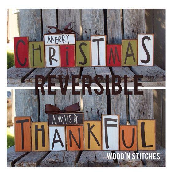Fall autumn thanksgiving Christmas winter reversible seasonal decor wood block set personalized sign g