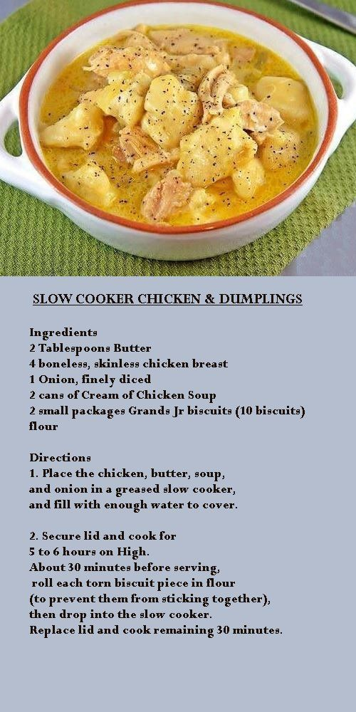 Crock pot chicken and dumplings **like Cindys (sort of) ***Cindy says – I used chicken tenders…