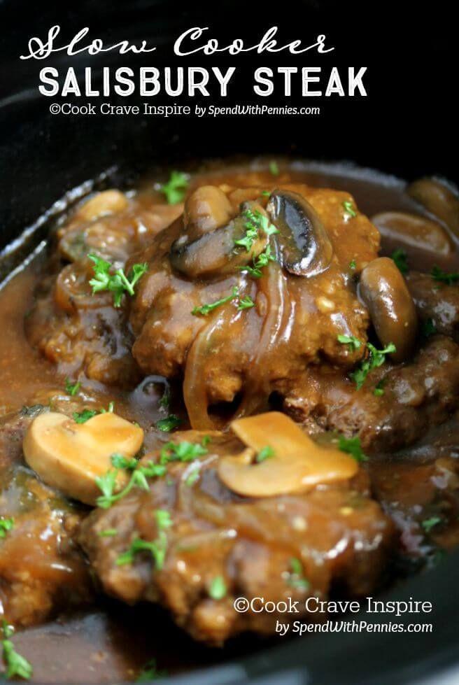Slow Cooker Salisbury Steak – Spend With Pennies-crushed pork rinds instead of bread crumbs. serve w/q