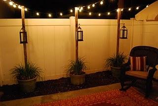 I love the pots & posts & string lights!