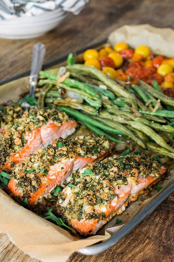 Herb crusted salmon with green beans and cherry tomatoes, recipe @Waiting On Martha