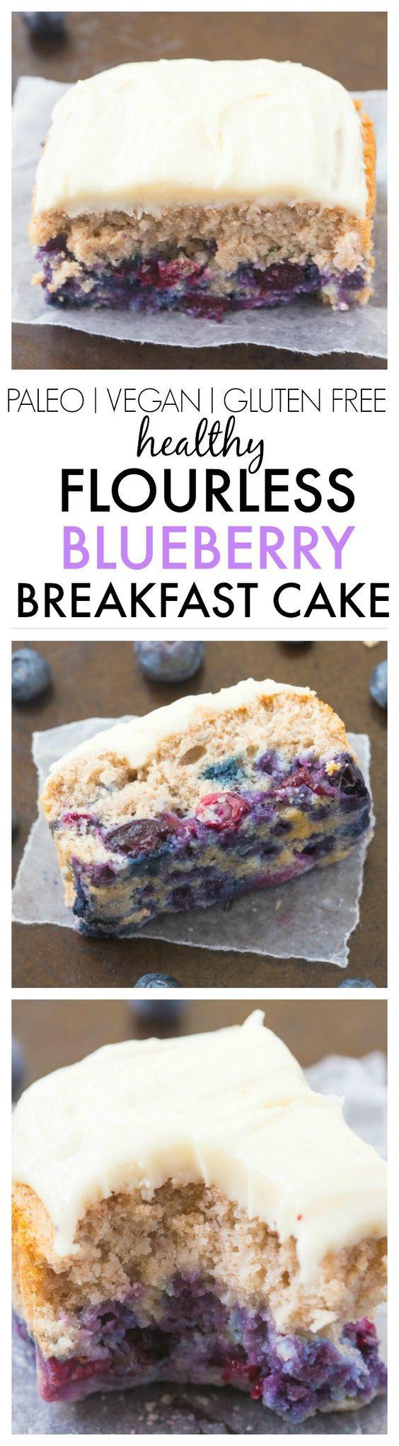 Healthy Flourless Blueberry Breakfast Cake- Light and fluffy on the inside, tender