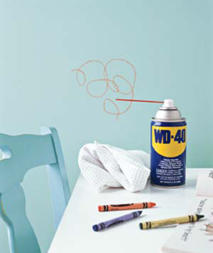 WD-40 removes crayon marks from just about any surface…didn't know that!