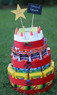 School supplies gift tower idea for teacher gift or teacher appreciation